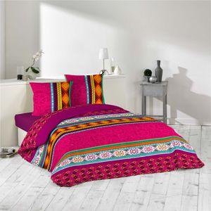 3tlg Bettwäsche 240x220 Azteken fuchsia bunt Bettdecke Übergröße Bett King Size