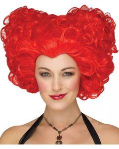 Rote Herzkönigin Perücke für Party mit Märchenmotto, Halloween oder Faschingsfeten