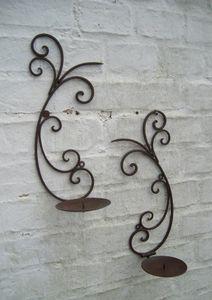 Wandkerzenhalter 2er-Set Kerzenständer Eisen massiv Landhaus verziert
