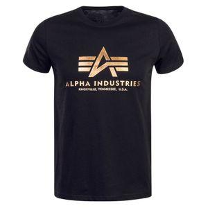 Alpha Industries Herren Grundlegendes T-Shirt, Schwarz L