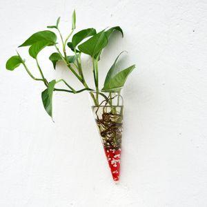 Modern Hängende Glas Vase Blumenvase Pflanzenvase Wandvase Kreisform Kegel