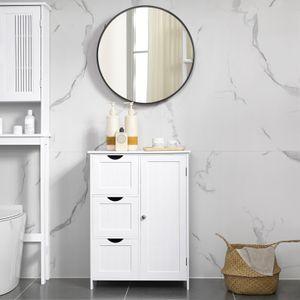 VASAGLE Badezimmerschrank mit 3 großen Schubladen 81 x 60 x 30cm Badschrank mit einer verstellbaren Regalebene Kommode weiß BBC49WT