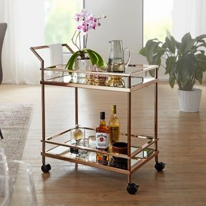 WOHNLING Design Servierwagen Dunkles Gold 2 Ebenen mit Bremsen | Beistelltisch auf Rollen | Speisewagen mit Glasplatte | Küchenwagen | Teewagen