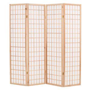4-tlg. Raumteiler Japanischer Stil Klappbar 160 x 170 cm Natur