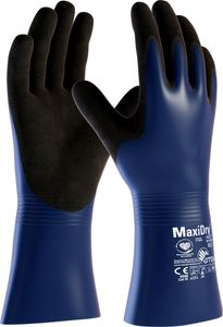 ATG Haushalts- und Chemikalien-Handschuhe 56-530 Schutzhandschuhe MaxiDry Plus 2381 Mehrfarbig blau/schwarz 8 (M)