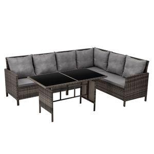 SVITA MADISON Polyrattan Lounge Gartenmöbel Rattan Set in braun