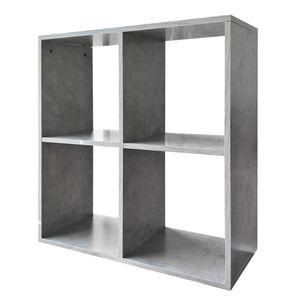 Melko Regalwand 4 Fächer Raumtrenner Betongrau Bücherregal Raumteiler Regal ??