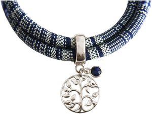 Damen Armband Wickelarmband 925 Silber Lebensbaum AZTEC Saphir Blau