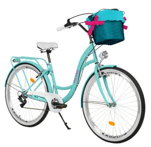 Milord Komfort Fahrrad Mit Korb Damenfahrrad, 26 Zoll, Wasserblau, 7 Gang Shimano