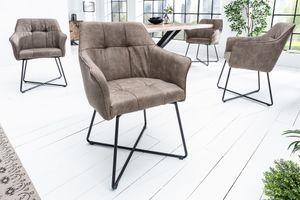 Exklusiver Design Stuhl LOFT vintage taupe Microfaser mit Armlehne Esszimmerstuhl Armlehnstuhl