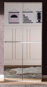 Garderobenschrank und Schuhschrank Mirror weiß mit Spiegeltüren Flur Garderobe kompakt 74 x 191 cm - Trendteam 1718-155-01
