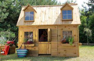 Kinderspielhaus Spielhaus Holz-Gartenhaus Spielhütte aus Holz für Kinder - (3995)