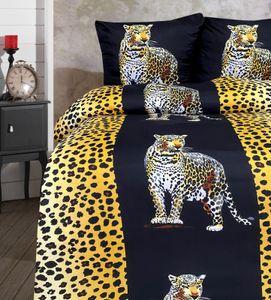 Bettwäsche 155x220 + 80x80 cm Mikrofaser leopard schwarz gelb mit Reißverschluss, 2-tlg