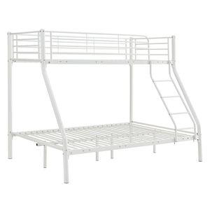 Juskys Hochbett Jonas – Etagenbett 90 / 140 x 190 cm mit Leiter & Rausfallschutz für 3 Personen bis max. 150 / 300 kg – Stockbett aus Metall in Weiß