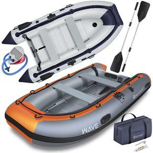 KESSER® Schlauchboot 3,20 m für 4 Personen - WAVE Motor geeignet Freizeitboot Paddelboot Motorboot Angelboot - mit 2 Sitzbänken -  Alu-Boden Paddel  Pumpe Reparaturset & Tasche  aufblasbar PVC, Farbe:Grau / Orange