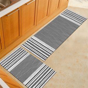 Sunnyme 2Stk Küchen Waschbar rutschfest Küchenmatte Küchenteppich Waschbar Teppich Küche Fußmatte Badematten Set Muster 1
