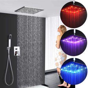 Unterputz LED Regendusche Duschkopf 300 * 300mm RGB Regendusche Deckenbrause Unterputzarmatur Farbewelchseln nach Wassertemperatur Brausegarnitur Duschset Handbrause