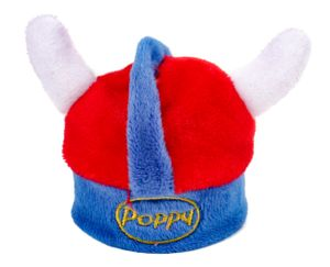 Wikingerhelm aus weichem Stoff für Poppy Lufterfrischer, Deko-Helm für die Flakons-Deckel, in den norwegischen Nationalfarben rot, blau, (H) ca. 7,8 cm