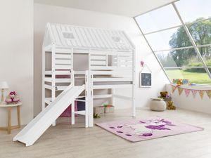 Relita Spielbett Tom´s Hütte und Bett Eliyas mit Rutsche Buche massiv weiß lackiert; BS1311117-B90+ZB1371417