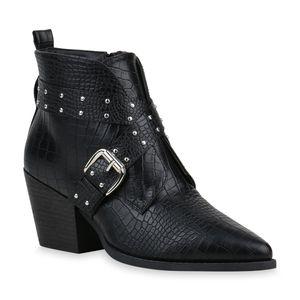 Mytrendshoe Damen Stiefeletten Ankle Boots Chunky Heels Schnallen Schuhe 835297, Farbe: Schwarz, Größe: 38