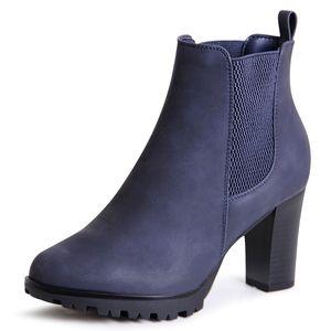 topschuhe24 1913 Damen Plateau Stiefeletten Ankle Boots, Farbe:Blau, Größe:41 EU