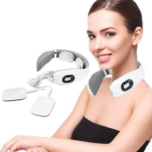 Intelligentes Nackenmassagegerät, Nackenmassagegerät, Zervixmassagegerät, Elektro Magnetic Pulse Nackenmassage mit Heizungs-Funktion Geeignet für Haus, Auto, Büro