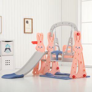 Sunnyme 3 in 1 Kinder Rutsche Schaukel mit Basketballkorb in einem Spielturm Spielplatz Indoor Outdoor Kletterturm Aktivitätszentrum Pink