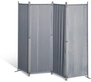 Grasekamp Paravent 4 teilig Grau Raumteiler  Trennwand Sichtschutz Balkontrennung