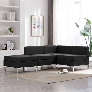 Möbel Sofa Ecksofa für Wohnzimmer & Büro,4-tlg. Sofagarnitur Stoff Schwarz Größe:195 x 130 x 65 cm Lounge Sofa,Sofagarnitur Komfortabel & langlebig