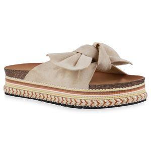 Giralin Damen Sandaletten Pantoletten Schleifen Ethno Look Plateau Schuhe 836656, Farbe: Beige, Größe: 37