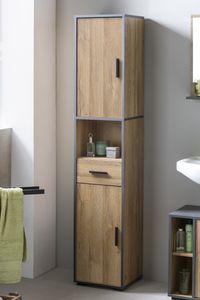 Wilmes - Bad Adria - Hochschrank mit 2 Türen, 1 offenes Fach und 1 Schublade