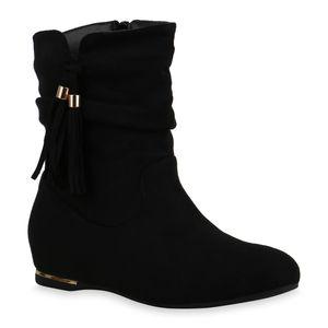 Mytrendshoe Damen Leicht Gefütterte Stiefeletten Klassische Quasten Schuhe 835462, Farbe: Schwarz, Größe: 39