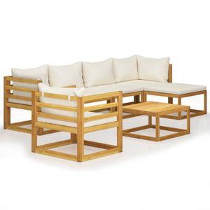 anlund 7-tlg. Garten-Lounge-Set mit Auflagen Creme Massivholz Akazie