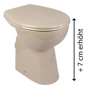'aquaSu® Stand-WC-Set +7 cm, Spülrandlos, Erhöhtes Komfort WC, Inklusive WC-Sitz, Tiefspüler, Abgang waagerecht, Beige, Spülrandlose Toilette, Einfache Reinigung