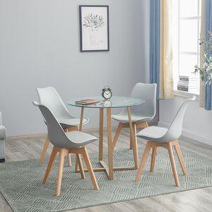 HJ WeDoo Esstisch Runde Esstisch mit 4 Stühlen grau+Esstisch 80x80x74.5cm,für 2 4 Personen
