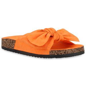 Mytrendshoe Damen Sandalen Pantoletten Hausschuhe Schleifen Freizeit Schuhe 834127, Farbe: Orange, Größe: 40