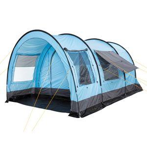 """CampFeuer Tunnelzelt für 4 Personen """"Relax4""""   hellblau-grau   Variables Tunnelzelt mit abtrennbarer Schlafkabine"""