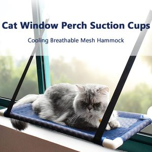 Katzenfenster Barsch Hängematte Bett Kühlung Atmungsaktives Mesh Deck Fenster Saugnäpfe Sitz Sommer Hängematte für Katzen Kätzchen[Blau]