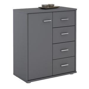 Kommode TIRANO 1 Tür, 4 Schubladen, grau