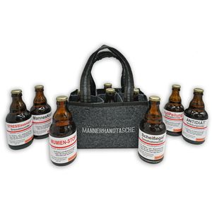 Männerhandtasche / Biergeschenk für Männer / gefüllt mit 6 Bierflaschen 🍻 / witzige Sprüche / Herrengeschenk / Partygeschenk 🎁 / Sixpack / für echte Männer