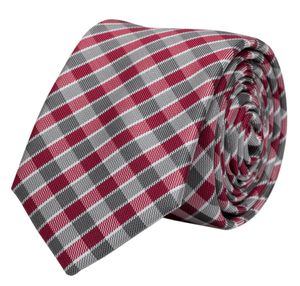 Schlips, Krawatte, Krawatten, Binder, 8cm, grau rot weiß kariert, Fabio Farini