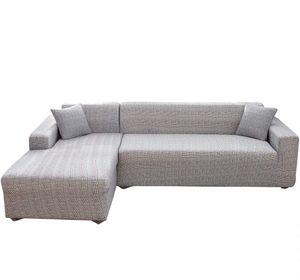 L-Form-Stretch Sofabezüge Polyester Elasthan Stoff Slipcover 2ST Polyester-Gewebe Stretch Slipcovers + 2pcs Kissenbezüge
