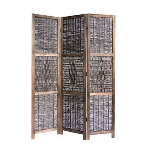Homestyle4u 1247, Paravent Raumteiler 3 teilig, Holz Weide Geflecht, Braun
