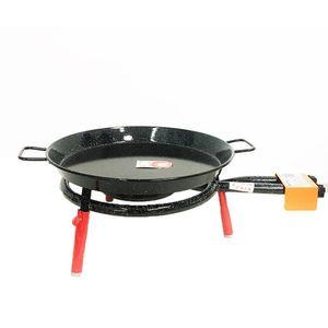 Komplettes BARCELONA Paella-Grill- und Plancha-Set: Ofen 40cm + emaillierte Stahlplatte 46cm + Stativ auf Tisch H15cm