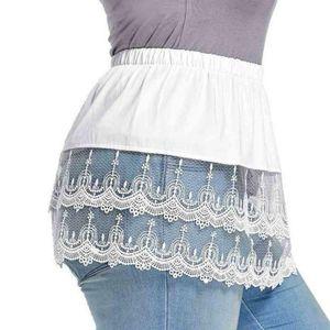 Frauen Minirock Shirt Extender Spitze Hohlnähte Pullover Kleidung Zubehör , Weiß XL
