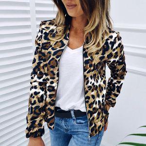 Frauen Leopardenmuster Bomberjacke mit langen aermeln Reissverschluss vorne Baseball Jacke Fruehling Herbst Casual Maentel StreetwearXL