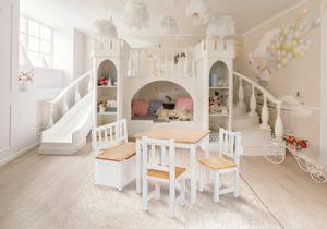 Original IMPAG® Kinder-Sitzgruppe | Großes Kinderzimmer Set 1 Tisch, 2 Stühle, 1 Truhenbank mit Qualitäts-Beschlag | Anni [Natur - Weiß]