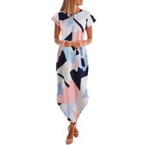 Damenmode Casual Kurzarm V-Ausschnitt Bedrucktes Maxikleid Mit Gürtel Größe:L,Farbe:Rosa
