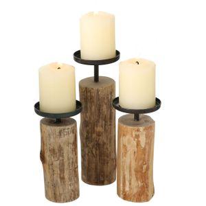 Kerzenhalter 3er Set - Tempe 15,5-24 cm - Eukalyptus Holz