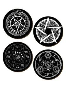 Buttons Set 4 Stück Pentagramm und Runen